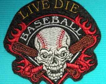 """Live Die Baseball, Iron On Patch, Baseball Skull, Bats, Flames, Embroidered Patch, Sports, MLB, 3 1/2"""" X 3 1/4"""""""