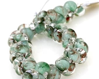 12 pieces 10mm Lamp Work Glass Mint Green Teardrop Beads