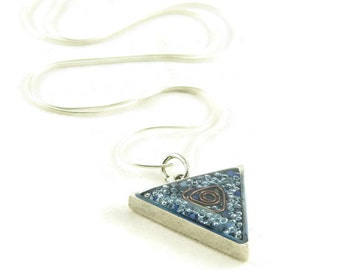 Orgone Energy Triangle Pendant in Antique Silver with Lapis Lazuli Gemstone - Unisex Necklace - Men's Necklace - Artisan Jewelry
