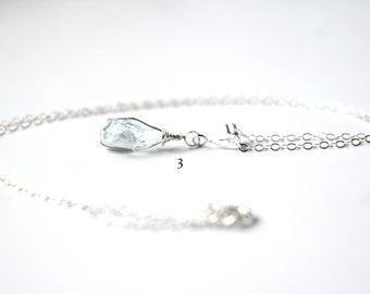 Aquamarine Necklace, Sterling Silver March Birthstone Necklace, Raw Crystal Necklace, Wire Wrapped Raw Aquamarine Pendant Raw Stone Necklace