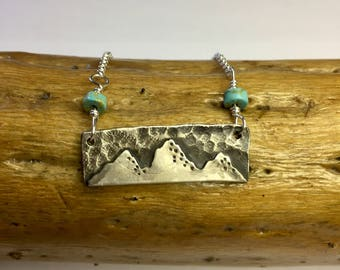 Turquoise Mountain Necklace// Sterling Silver