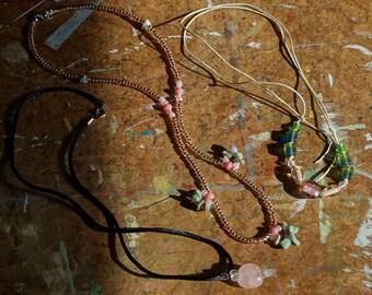 Pink peach blush necklace trio