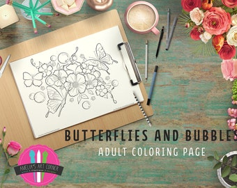 Butterflies and Bubbles Adult Coloring Page - Printable Butterfly Coloring Page - Downloadable Bubbles and Butterflies Coloring Page