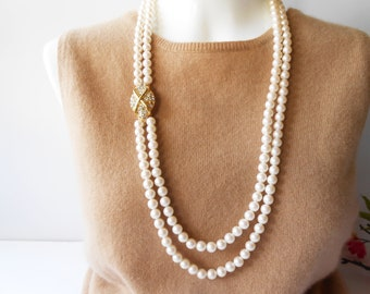 Pearl Necklace, Rhinestone Clasp, Vintage Necklace, Monet Necklace, Double Strand Pearls, Classic Pearls