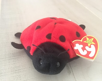 Ty Beanie Baby, Lucky Ladybug, 4th Generation Swing Tag, No Stamp on Tush Tag, PVC Pellets, Beanie Baby Lucky Ladybug