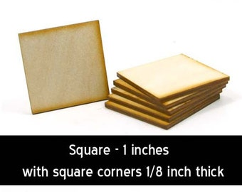 Unfinished Wood Square - 1 inch by 1 inch and 1/8 inch thick with square corners wooden shape (SQSQ03)