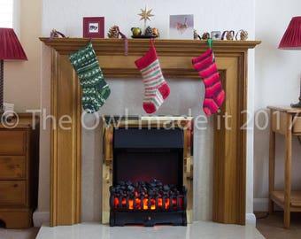 Knit Christmas stocking   Rustic Christmas decoration   Stripes Knit stocking  British wool stocking   UK seller