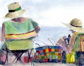 Original Print  OR Original Watercolor -  Couple at the beach