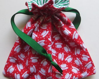 A Cup of Christmas Tea Lined Drawstring Fabric Gift Bag
