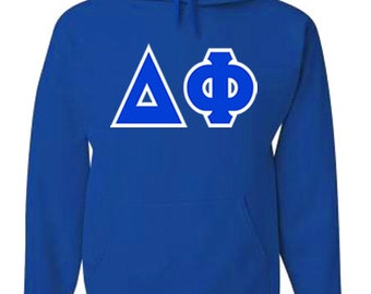Delta Phi Jumbo Twill Hooded Sweatshirt (Royal Blue/White)