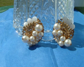 Thermoset and Pearls with Filigree Back Earrings