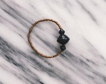 Large Black Three Bead Bracelet