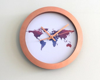 Multicolour Worldmap Atlas Copper clock