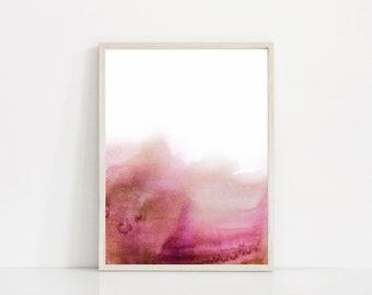 Dark Pink Watercolor Print, Pink Abstract Art, Dark Pink Art Print, Bright Pink Print, Watercolor Art, Hot Pink Wall Art, Pink and White Art