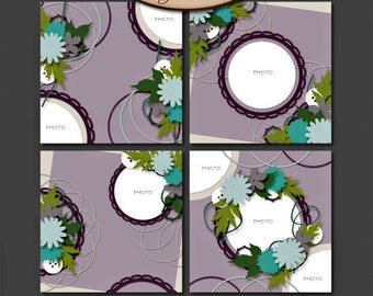 Digital Scrapbooking, Layout-Vorlage Set: Kreis mich