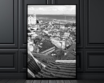 Rooftop view of the old neighborhood of Alfama in Lisbon, river Tagus in the background, black and white print, wall art, home decor, Lisbon
