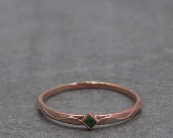 Emerald ring, Square, Rose Gold, Vintrage, Dainty, Emerald jewelry, Green stone, May birthstone, Thin, Simple, Stacking, Texture