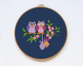 Easter Owls Unique Counted Cross Stitch Pattern PDF