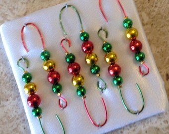 Beaded Ornament Hangers -Red and Green and Gold beads on Red & Green  - FREE SHIPPING