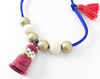 Gumball Machine Charm Necklace Girls Tassel Necklace