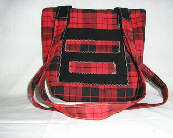 Urban punk checkered bag red and black / and white and green Plaid