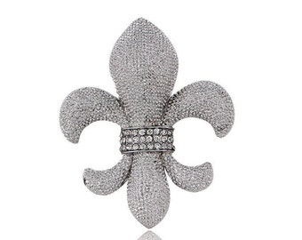 Crystal Rhinestone Fleur de lis Brooch, Clear Crystal Rhinestone Wedding Brooch, Silver Rhinestone Bouquet Brooch, Jewelry Gift For Her
