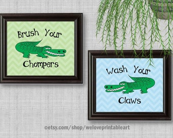 Green and Blue, Kids Bathroom Art, Wall Decor, Kids Bathroom Signs, Kids Bathroom Decor, Art Print, Kids Bathroom Rules, Brush Your Teeth