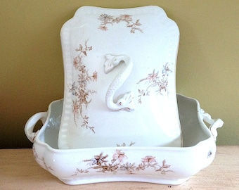 Antique Transferware Tureen, Antique Covered Dish, John Maddock & Sons, England Pottery, Royal Vitreous, 1800s Pottery