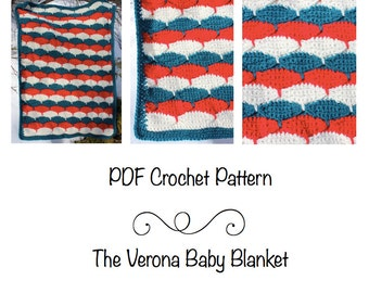 PDF Pattern- The Verona Baby Blanket, crochet baby blanket, baby shower gift, receiving blanket, bow tie design