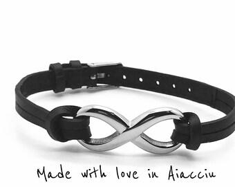 Bracelet infinite steel on leather