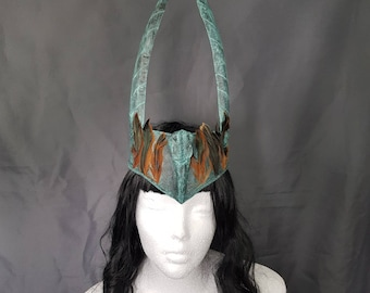 Pagan Warrior Handmade headpiece with a molded raven skull with patina colour, ready to ship