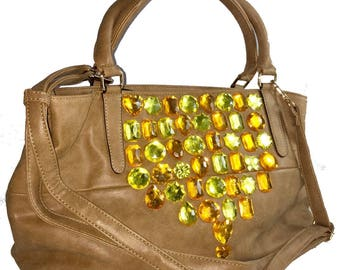 Flamboyant bright sparkle tan faux leather tote bag with inside zip pocket and phone pocket