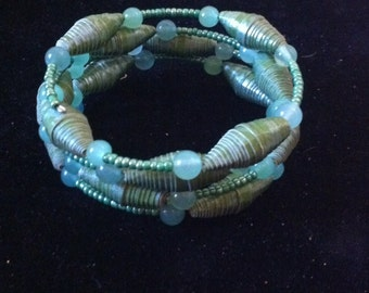 Armband - Perlen Armband - Perlen Schmuck - Memory-Draht-Armband - grüne Perlen Memory Wire Armband