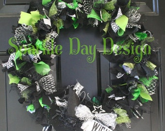 Halloween Wreath Inspired by Wicked the Musical Black and Green with Removable Mini Witch Hat Upcycled Rag Wreath Front Door Decoration