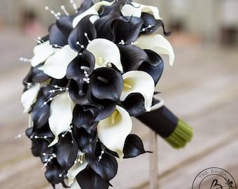 Calla lily bouquet, cascading bridal bouquet, black wedding bouquet, real touch calla lilies, cascading wedding bouquets, black and ivory