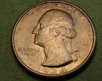 1934  Washington Quarter UNC Some Toning <> Insurance Included in SH , Coin you see is the Coin you get <> # ET6015
