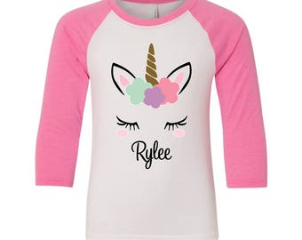 Unicorn Shirt, Girls Unicorn Shirt, Unicorn Tee Shirt, Toddler Unicorn Shirt, Unicorn Raglan, Unicorn Birthday Shirt