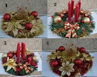 Christmas centerpiece, Christmas candle holder , Christmas decor