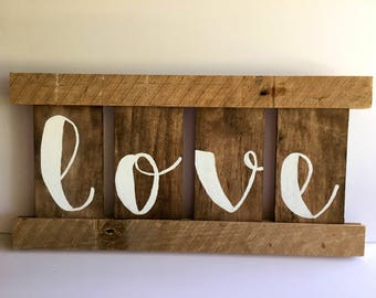 Rustic Love Sign, Reclaimed Upcycled Vintage Barnwood, Farmhouse, Fixer Upper Style, Custom Design-Just Ask