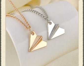 New Item! - Pendant Paper Airplane Necklace - Available in Gold and Silver!