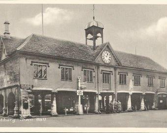 Vintage 1910s Postcard Tetbury England United Kingdom UK Town Hall Market Scenic Black and White Street View White Border Postally Unused