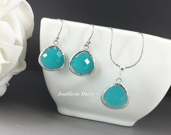 Blue Aqua Turquoise Mint Green Stone Necklace and Earrings Wedding Jewelry Bridesmaid Jewelry Bridesmaid Gift for Her Maid of Honor Gift