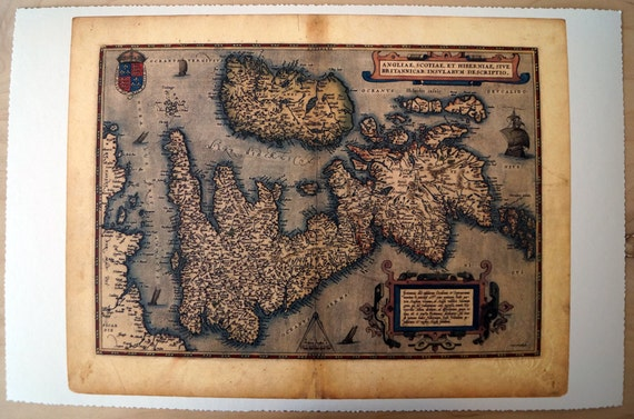 "United Kingdom & Ireland - Antique Map Print on Eco Bamboo paper with textured edge - Made in Canada! 11"" x 17"" and 8.5"" x 11"""