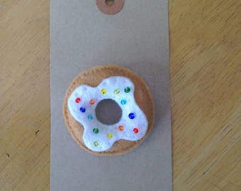 Felt doughnut brooch with rainbow sprinkles
