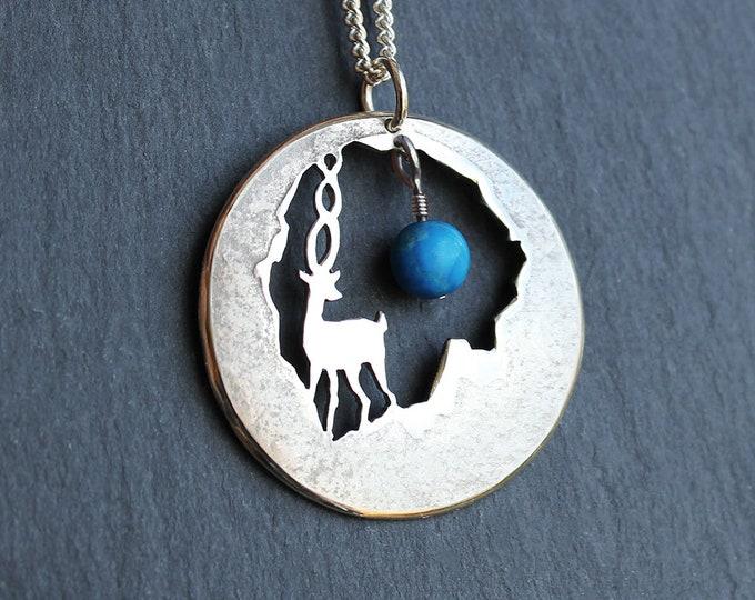 Silver Deer Pendant, Gemstone Jewellery, Silver Mountain Jewellery, Deer Jewellery.
