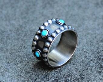 Turquoise Ring - Silver Turquoise Ring - Silver Band Ring - Sterling Turquoise Ring - Arizona Turquoise Ring - Bezel Set Turquoise - US 8