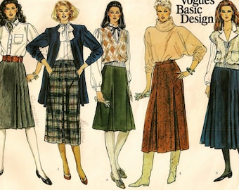 "A Set of Skirts Fashion Sewing Pattern for Women: All Slightly A-Line with Pleat and Length Variations - Size 8, Waist 24"" • Vogue 1061"