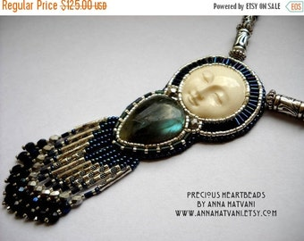 SALE 15% OFF Bead Embroidery Necklace   Blue Silver - Bead Embroidered Labradorite - Made to Order