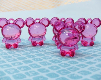 4x Funny Pink Mouse Charms Transparent Plastic