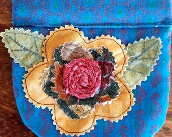 Handmade Snap Bag Gift Pouch Fabric Yoyo Suffolk Puff Flower Rosette Lined